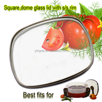 Square cookware glass cover fry pan tempered glass lid