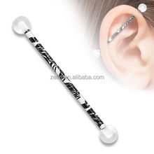 Zebra Black and White Printed Industrial Barbell Upper Earing Body Jewelry Piercing Jewelry