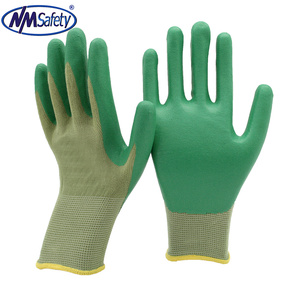 NMSAFETY bamboo liner green nitrile coated industrial security products safety glove