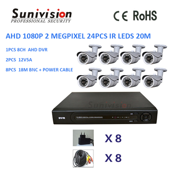 NEW!!! cctv camera bullet CMOS OV2710 8pcs 18m BNC + Power cable 8ch 1080p 2.0MP ahd dvr kit
