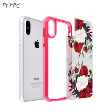 Colorful Flowers Printing TPU Bumper Interchangeable PC Hard Back Plate Cell Phone Cover Case For Apple iPhone X