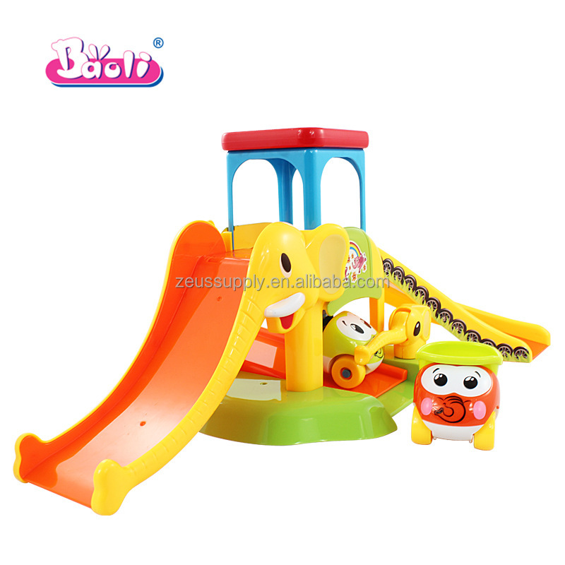 Special elephant design children eco-friendly plastic elephant toy with slide and Thomas cars for kids 1234