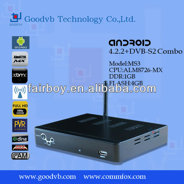 Android 4.2 smart tv box + DVB S2 digital satellite receiver