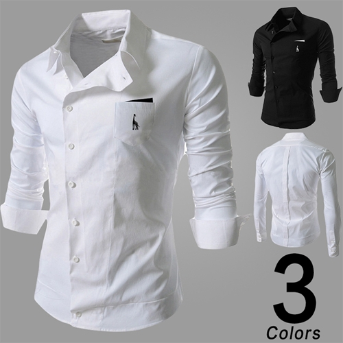 <strong>14</strong> new men s casual slant buckle personality embroidered deer tooling long sleeved <strong>shirt</strong>