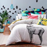 100% cotton bedding quilt cover set bed linen set black and light grey with circle printed