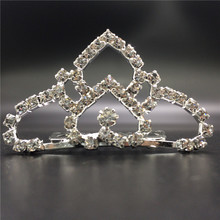 Wholesale 2016 new design mini rhinestone tiara bride crown with comb