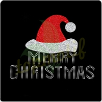 Merry Christmas Iron on rhinestone transfer designs With Santa Cap