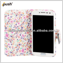 2013 Hot Selling Novelty Floral Wallet PU Leather Case For Samsung Galaxy S4