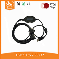 Factory Price No-Power FTDI Chip USB2.0 to 2 Port RS232 Adapter Cable Driver