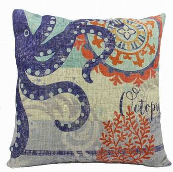 Custom print oceanic cushion,beach style pattern print cushion,promotion and advertisement square 45cm cushion