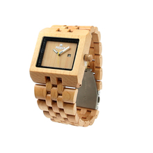 2018 sport style maple wood watch with date day Japanese movement fashion wrist watch. Reloj de madera...