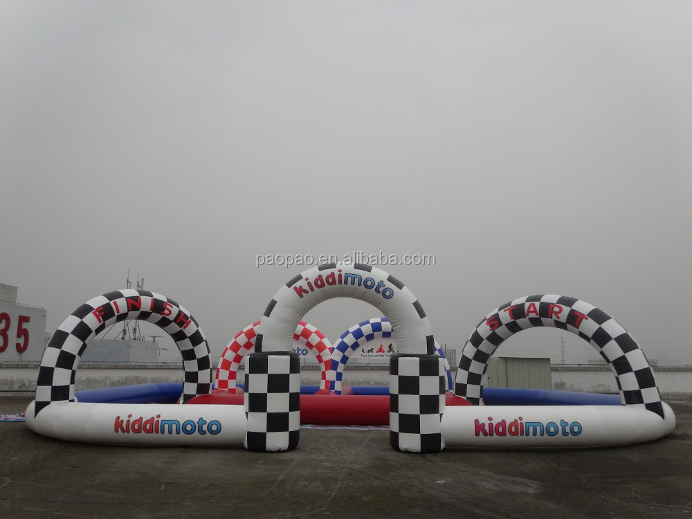 China Funny game kids go karts inflatable race track for sale, inflatable air race track