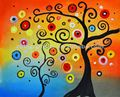 Colorful Abstract Trees Manually Oil painting