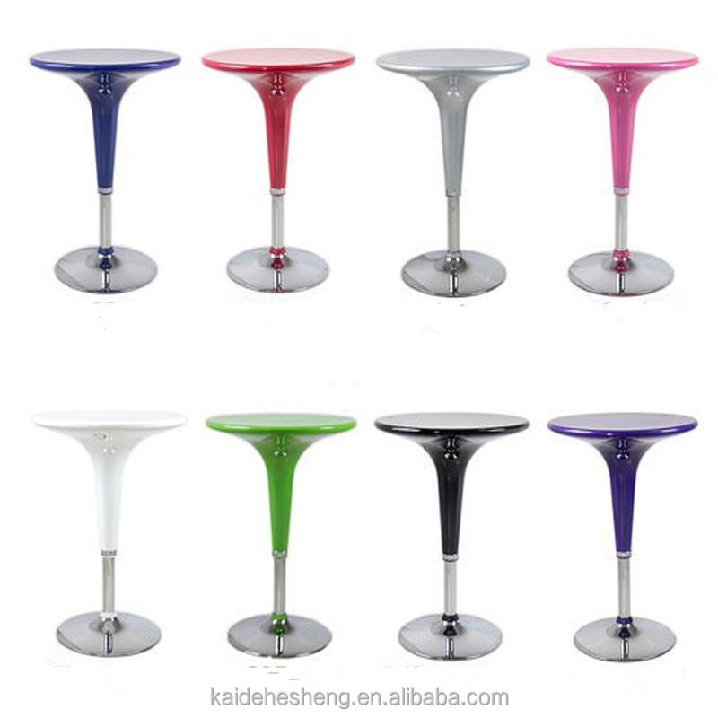 Colorful Modern Small Stainless Steel legs Round Dining Table