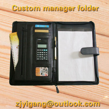Luxury A4 leather file folder zipper portfolio A4 padfolio business manager folder with calculator