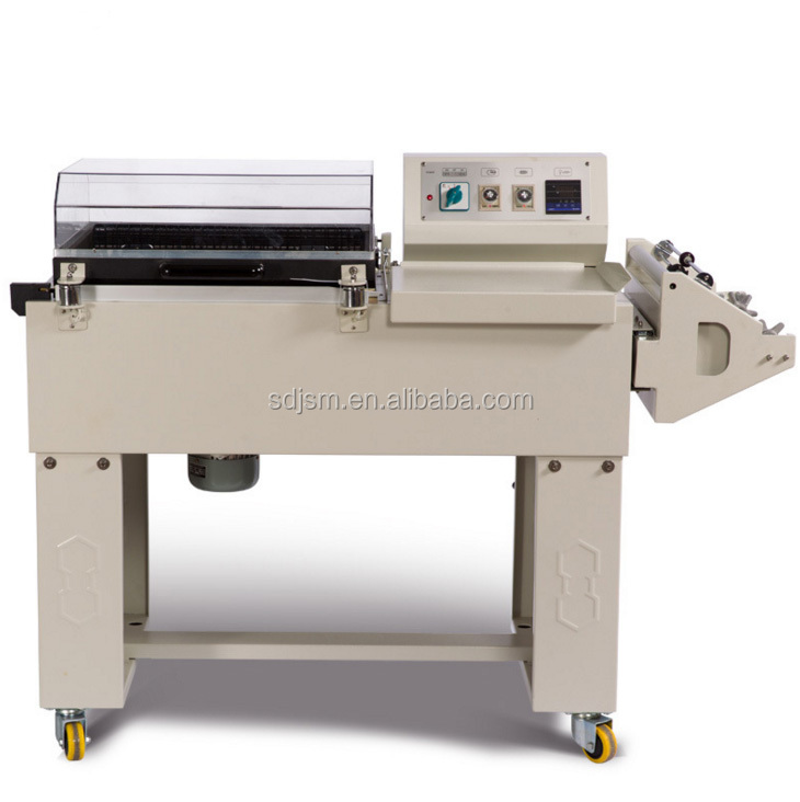 semi automatic shrink pvc pof film wrapping packing and cutting machine