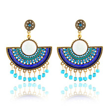 Chinese style jewelry vintage green rhinestone the fan drop earrings 2016 X89