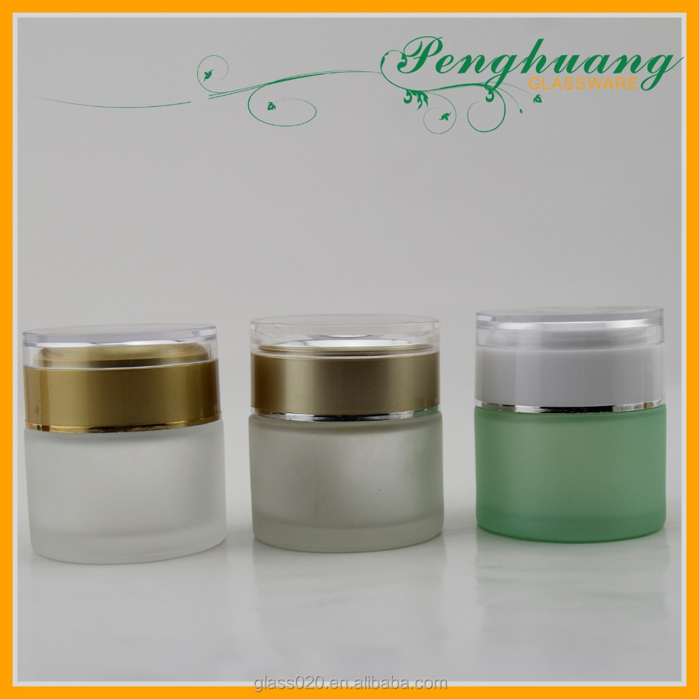 colored cosmetics face empty glass cream jar with acrylic cap
