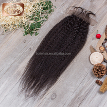 6A High Quality Natural Color Real 100% Brazilian Virgin Kinky Straight Hair closure