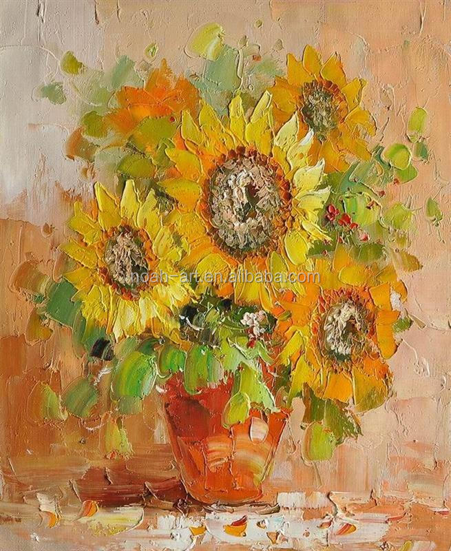 Handicraft modern art sunflower oil painting with palette knife