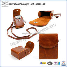 Vintage Brown Faux Leather Protective Camera Case Bag with Detachable Carry Strap & Belt Loop