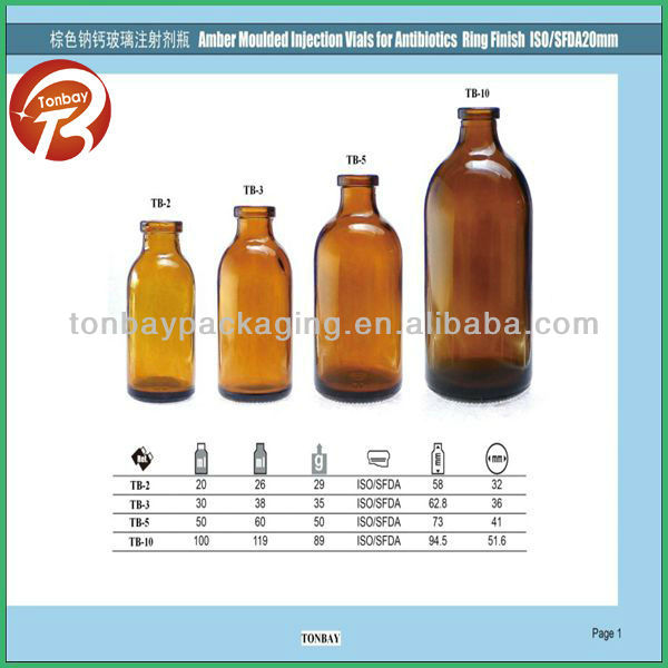 Amber moulded injection vial for antibiotics ring finish ISO/SFDA 20mm