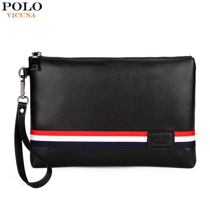 VICUNA POLO Classic Black Striped Design Men Clutch Wallet Brand Leather Men's Bag Wholesale Fashion Hand bag China V307