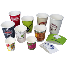 custom logo printed disposable coffee paper cup with lid with sleeves