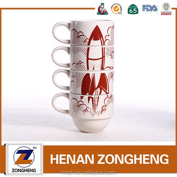 9oz common stoneware folding mug with rockets decal from China