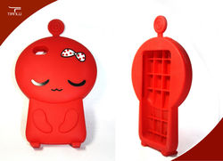 2013 new! CJ7 series2 cute 3D cartoon design silicone cover case for iphone4,iphone4 stand case