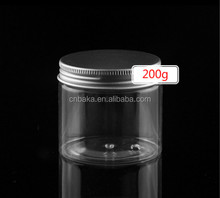 200ml Round Transparent Pet Plastic Jar with Metal Aluminum Cover,cream jar