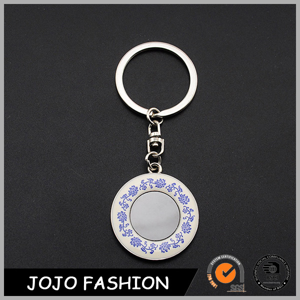 Beautiful printed flower zinc alloy keyring souvenir custom round metal key holder