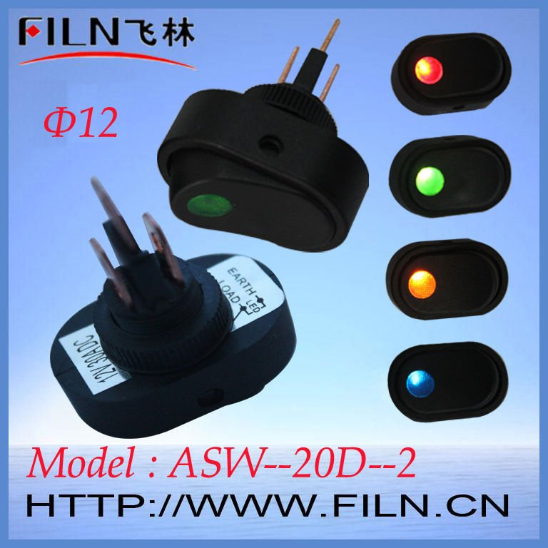 New style ASW-20D-2 rocker switch with light indicator 12V 30A From factory