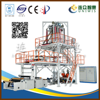 2016 high production Uniwis brand 3 layer horizontal film blowing machine ldpe