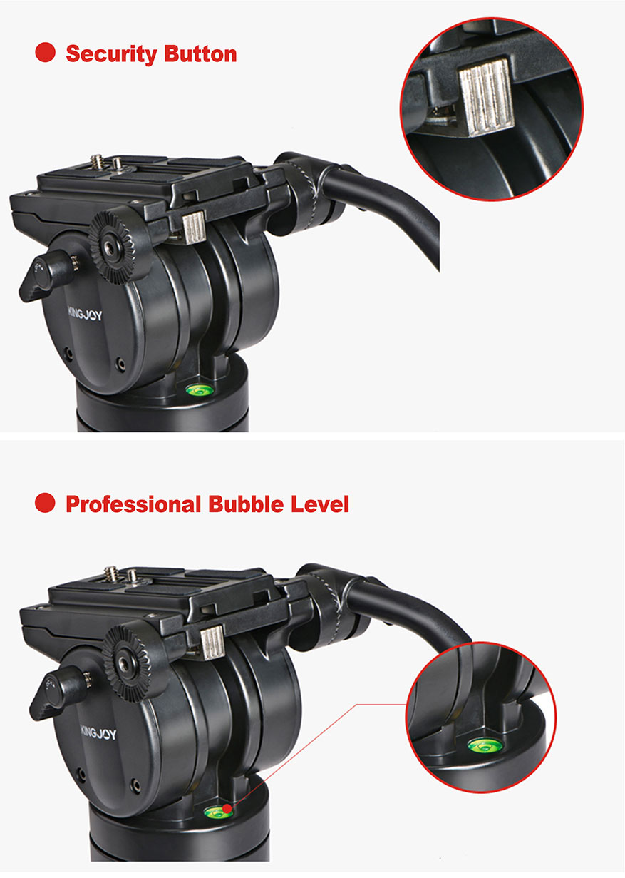 KINGJOY Professional 7.5kg Payload High Quality Aluminum Alloy Video Camera Tripod Kit  for Video Studio Shooting