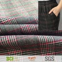 heavy weight polyester cotton twill plaid check elastane stretch spandex fabrics for pants jackets suit