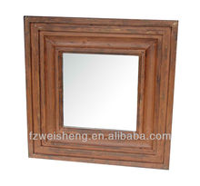 Vintage Square Wood Wall Mirror - Orange