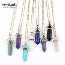 Artilady wholesale hot selling gold plated 45cm length multicolor natural stone <strong>necklace</strong>