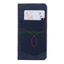 New Products Blue Jeans Denim Cloth Pocket PU Leather Folio Wallet case for iphoneX