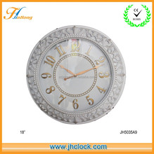 Retro White Wall Clock With embossed numbers Decoration Wall Clock