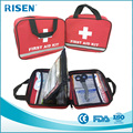 First Aid Medical Kit in Red Fabric Bag with Reflective Strip (100 Pieces)