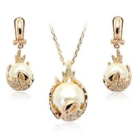 SMT1668190 perfect pearl jewelry set for bride fashion bridal gold Jewelry sets
