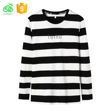 Men Long Sleeve Black White Stripe T Shirt