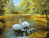 Acrylic Paint By Number For Adults Kids Cartoon Swan Family Love Bouquet Digital Oil Painting Make Your Own