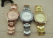 New comming STOCK fashion lady watch Three eyes Geneva steel watch with day date wholesale