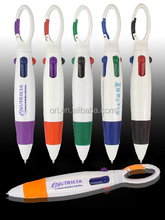 Custom logo 4 colors ball pen for promotion gift with rope