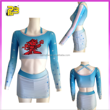 Fantastic custom made sublimation long sleeve halter cheerleading uniforms sportswear made in China