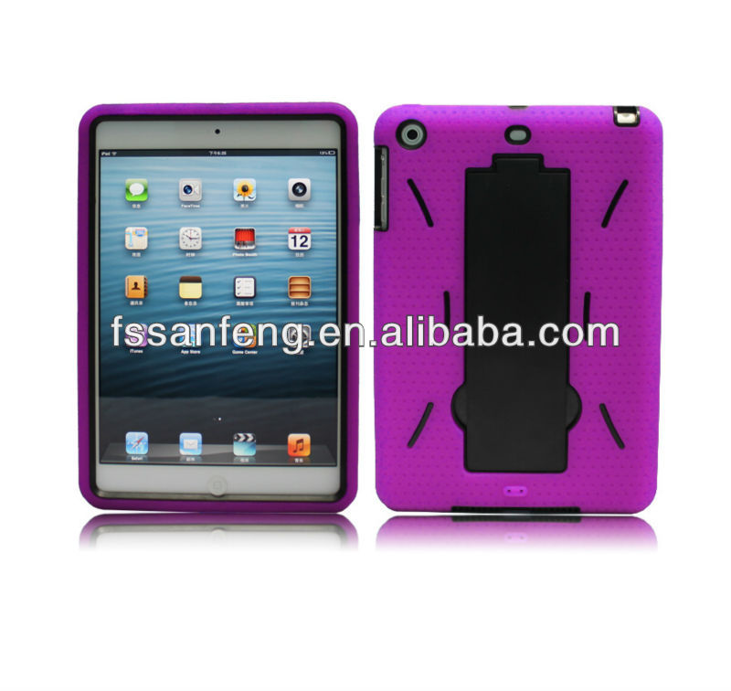 Brand New Luxury hard pc+silicone robot stand case for apple ipad mini,for ipad mini case cover
