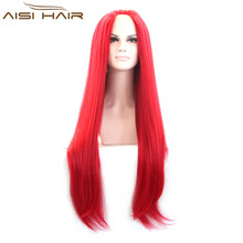 New Style Synthetic Red Glueless Lave Front Wigs Heat Resistant Long Straight Lace Front Wigs For Black Women