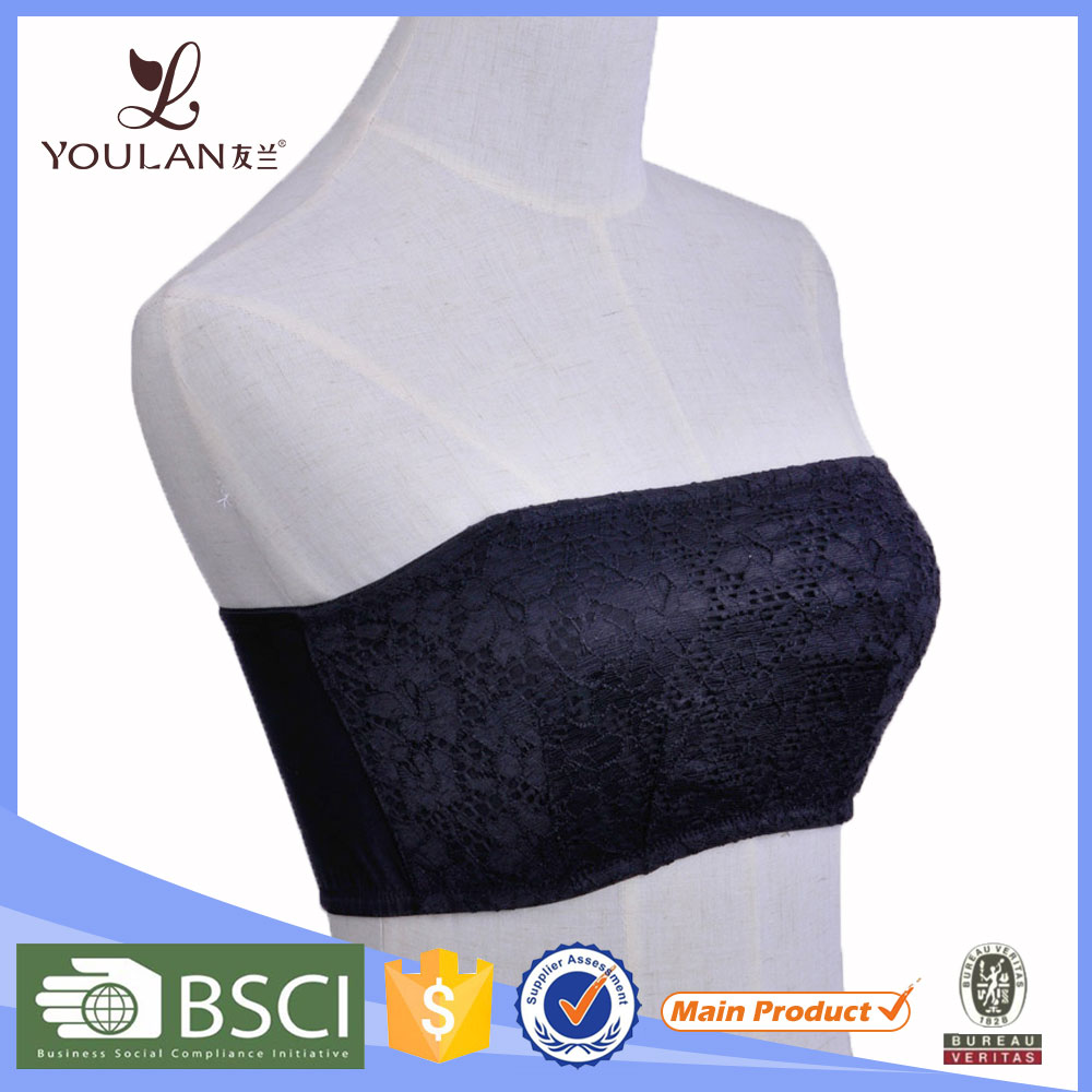 Women Spandex Breathable Elastic Black Fashion Lace Teen Tube Bra And Panties